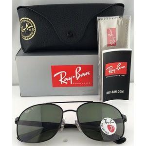 Ray-Ban Sunglasses Black w/Green Polarized Lens